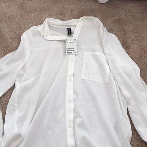 H&M All White Women's Buttoned Up Dress Shirt